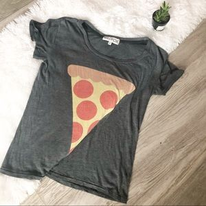 Wildfox Gray Pizza Slice Graphic Short Sleeve Tee